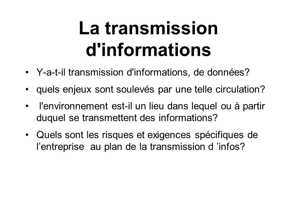La transmission d informations