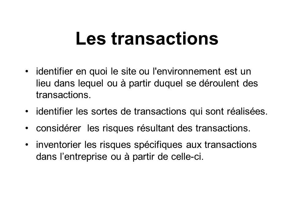 Les transactions identifier en quoi le site ou l environnement est un lieu dans lequel ou à partir duquel se déroulent des transactions.