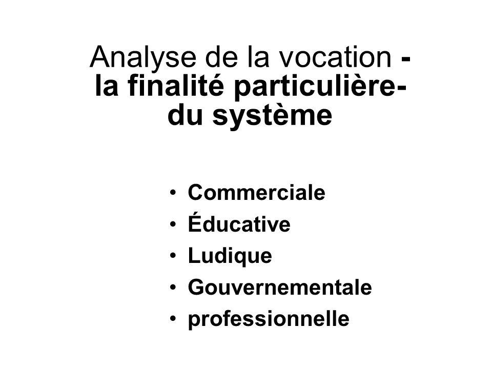Analyse de la vocation -la finalité particulière- du système