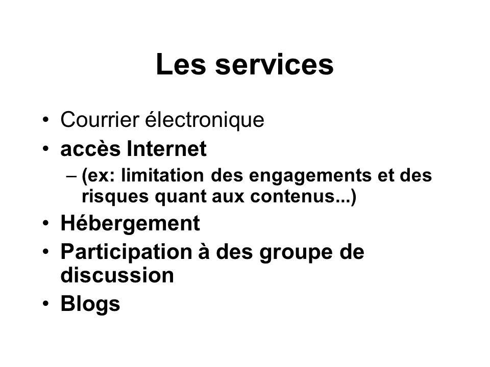 Les services Courrier électronique accès Internet Hébergement