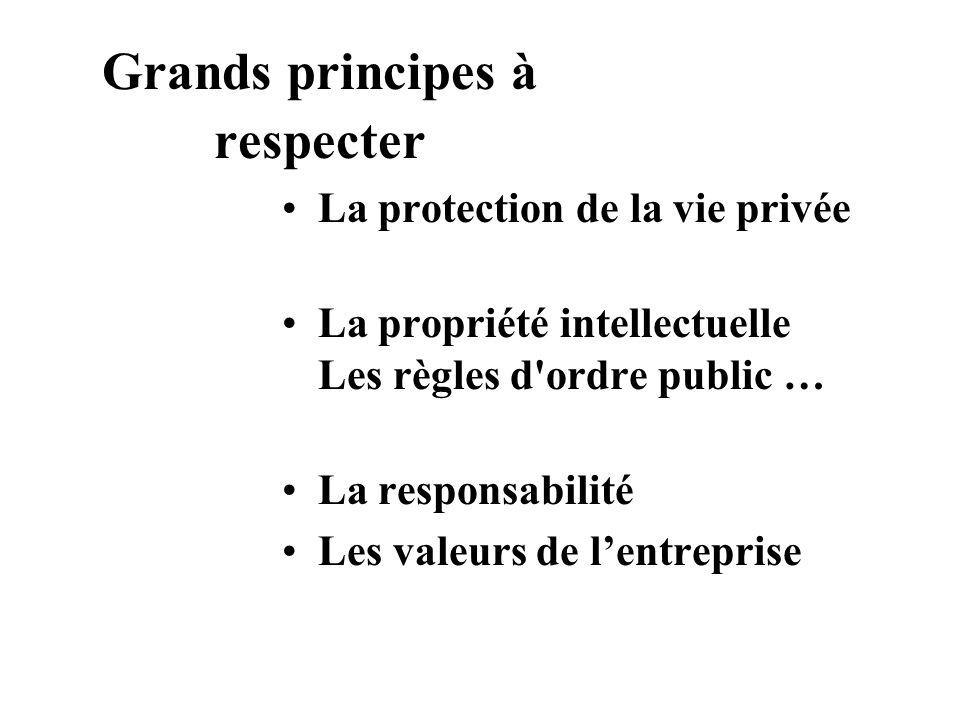 Grands principes à respecter