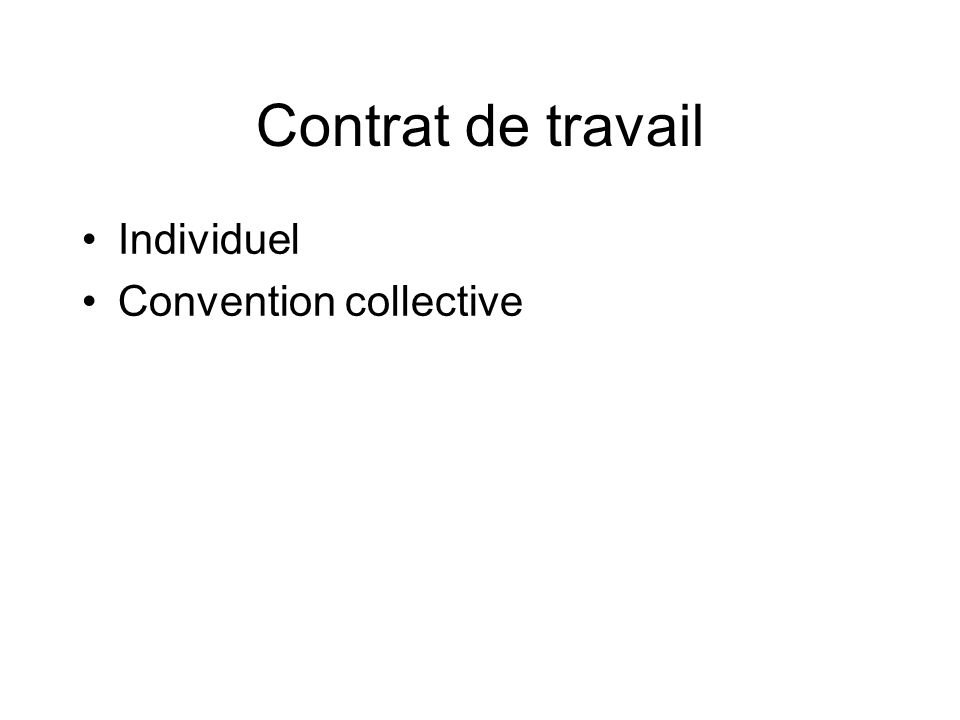 Contrat de travail Individuel Convention collective