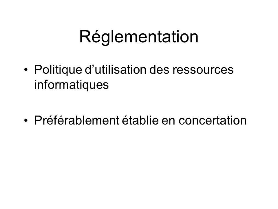 Réglementation Politique d'utilisation des ressources informatiques