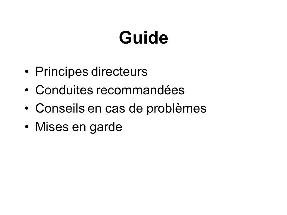 Guide Principes directeurs Conduites recommandées