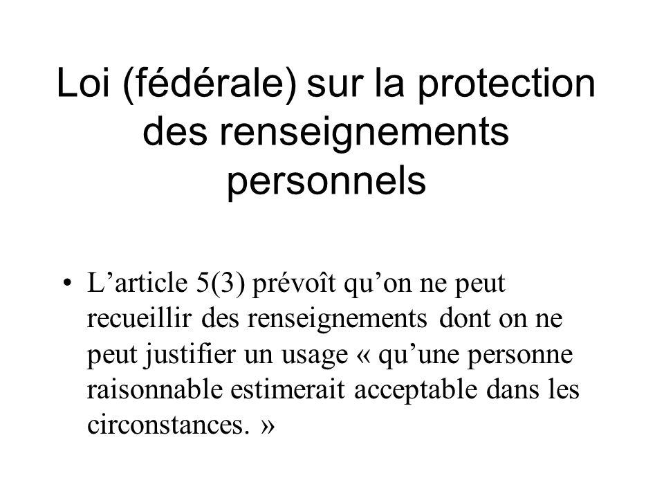 Loi (fédérale) sur la protection des renseignements personnels