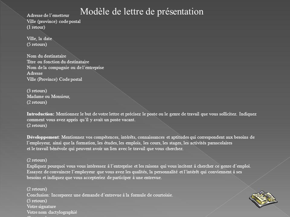 Modèle de lettre de présentation