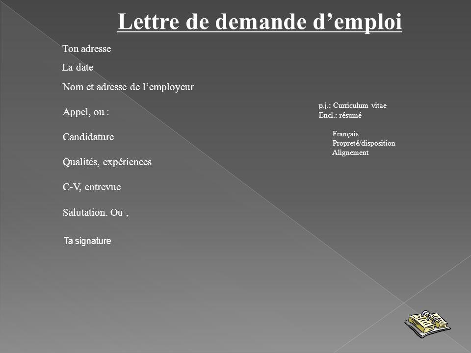 Lettre de demande d'emploi