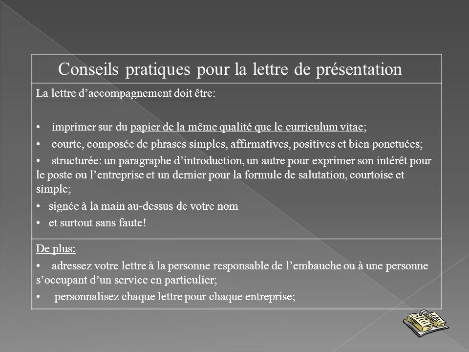 Conseils pratiques pour la lettre de présentation