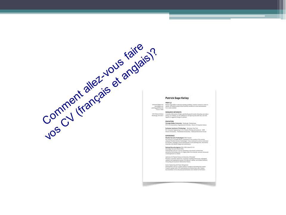 Comment allez-vous faire vos CV (français et anglais)