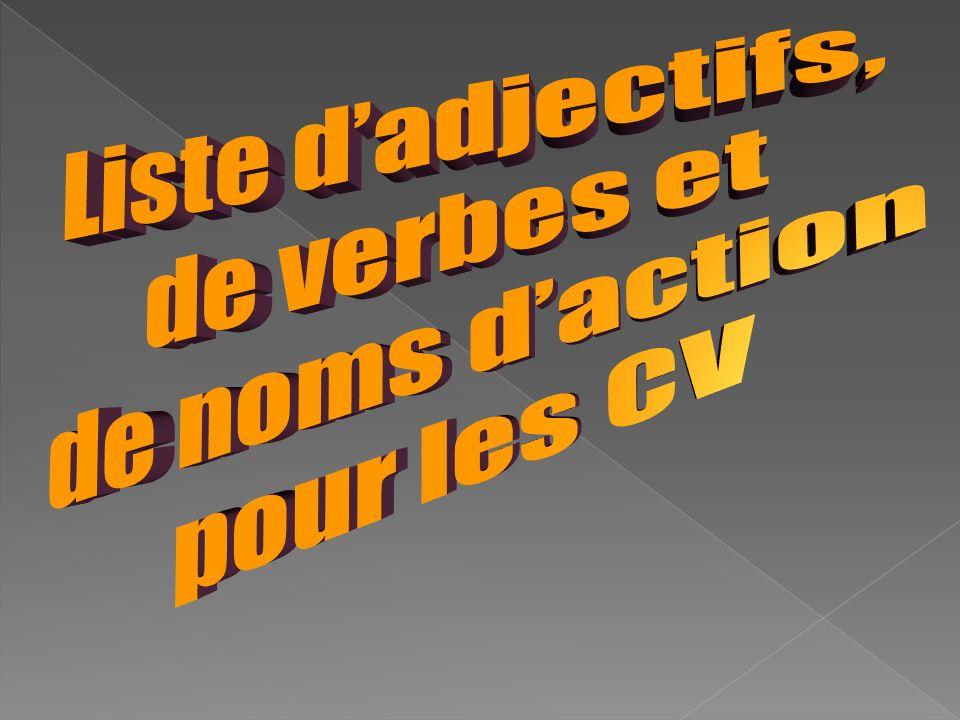 Liste d'adjectifs, de verbes et de noms d'action pour les CV