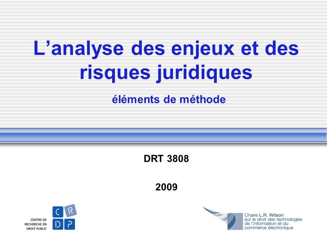 L'analyse des enjeux et des risques juridiques éléments de méthode