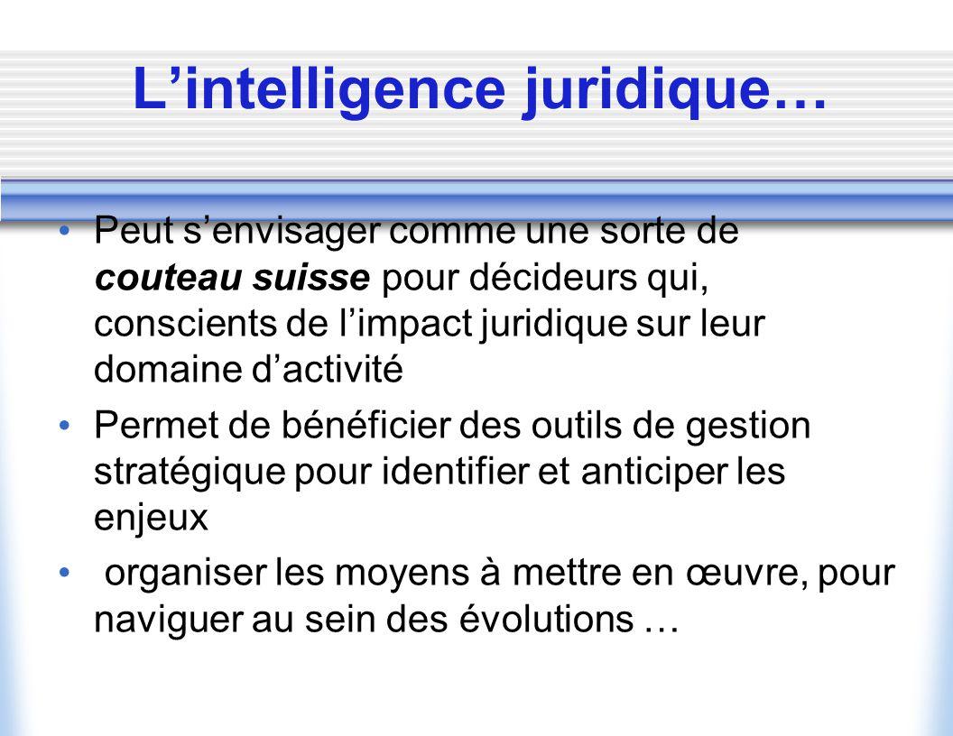 L'intelligence juridique…