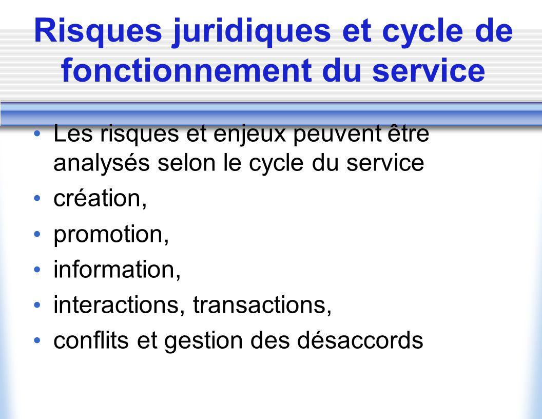 Risques juridiques et cycle de fonctionnement du service