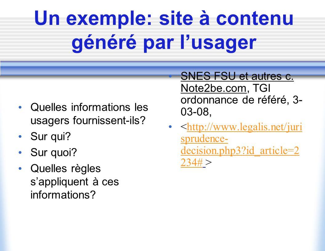 Un exemple: site à contenu généré par l'usager