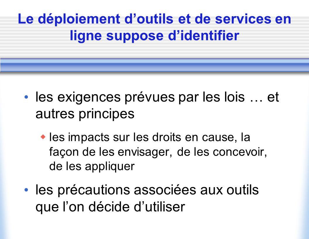Le déploiement d'outils et de services en ligne suppose d'identifier