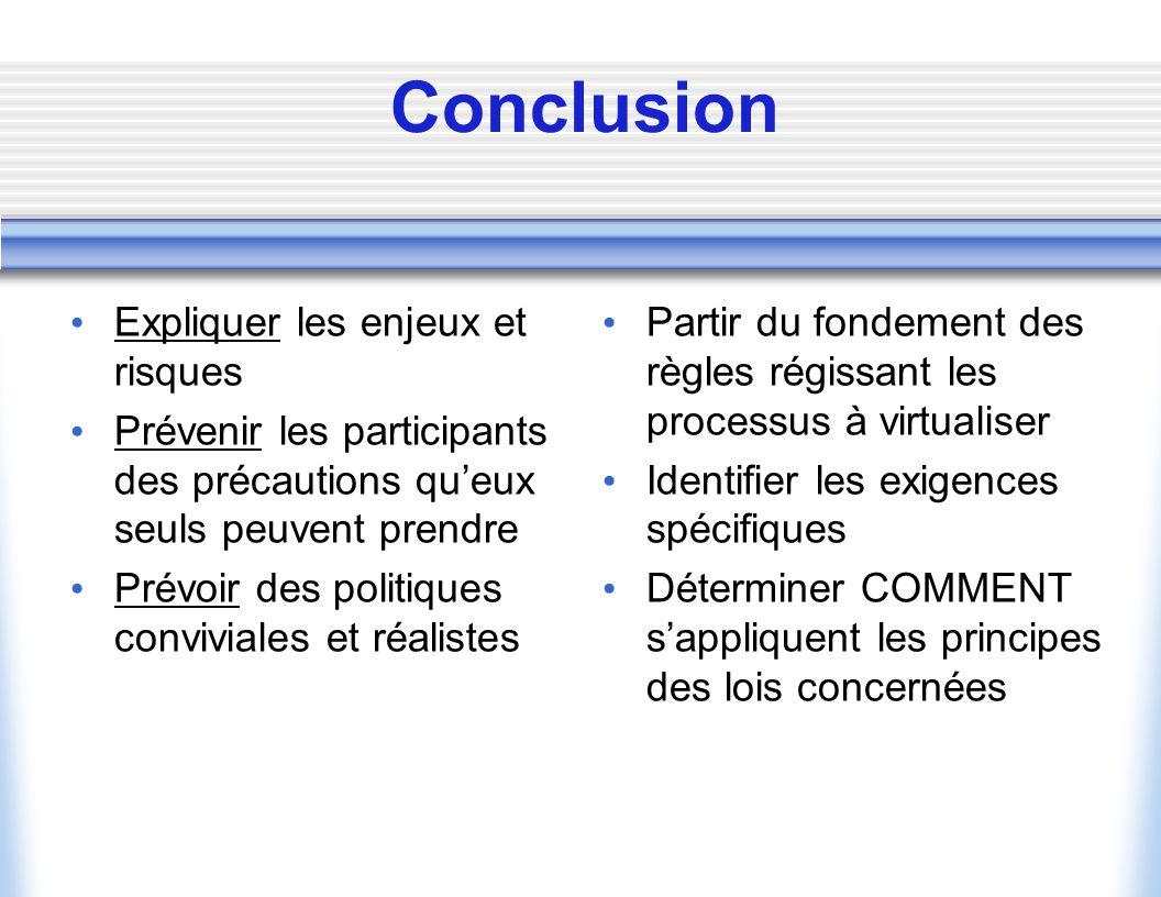 Conclusion Expliquer les enjeux et risques
