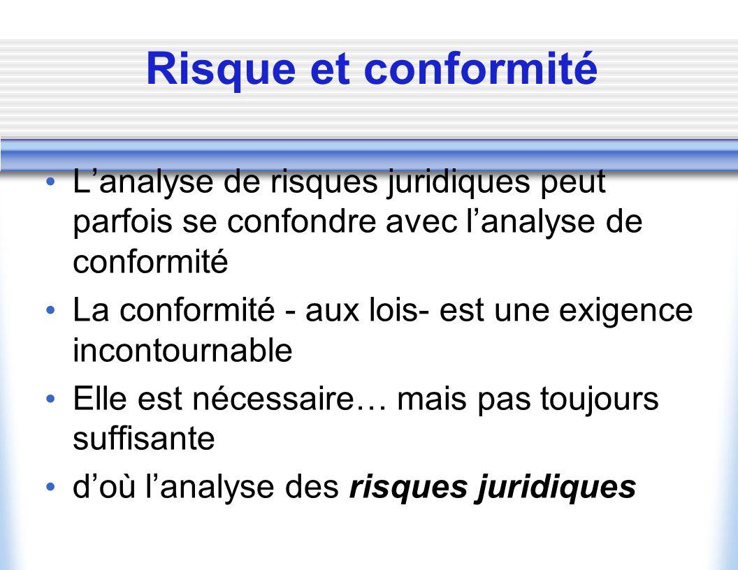 Risque et conformité L'analyse de risques juridiques peut parfois se confondre avec l'analyse de conformité.
