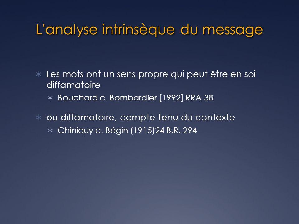 L analyse intrinsèque du message