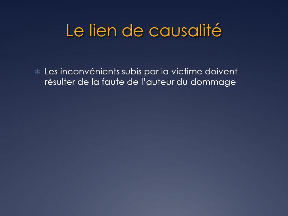 Le lien de causalité Les inconvénients subis par la victime doivent résulter de la faute de l'auteur du dommage.