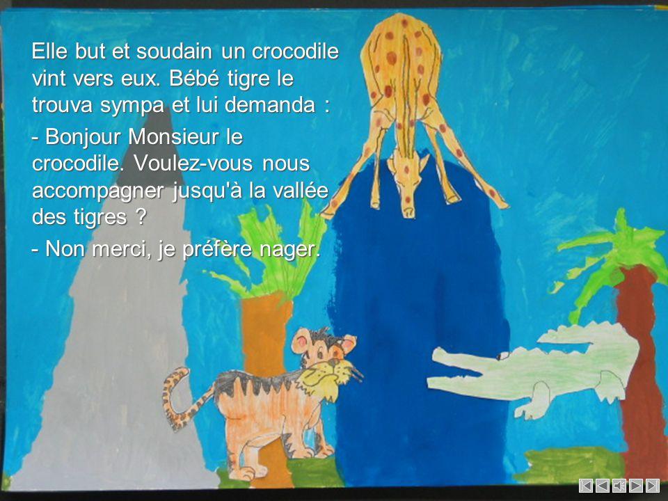 Elle but et soudain un crocodile vint vers eux