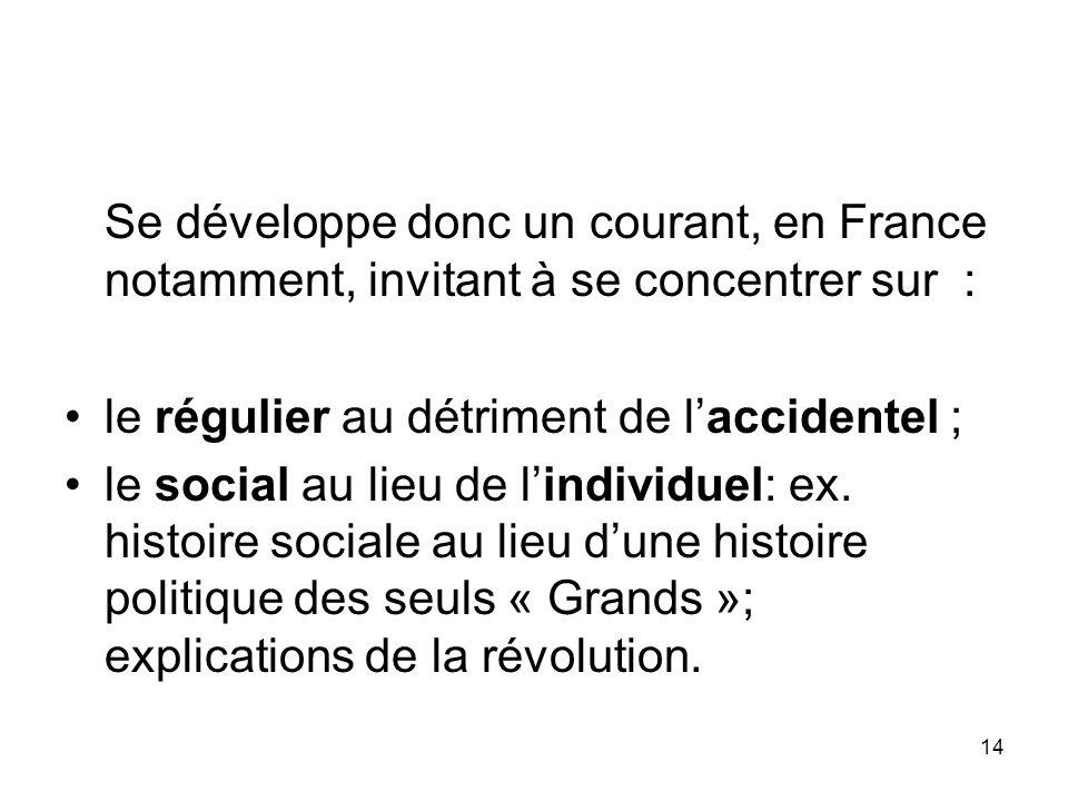 Se développe donc un courant, en France notamment, invitant à se concentrer sur :