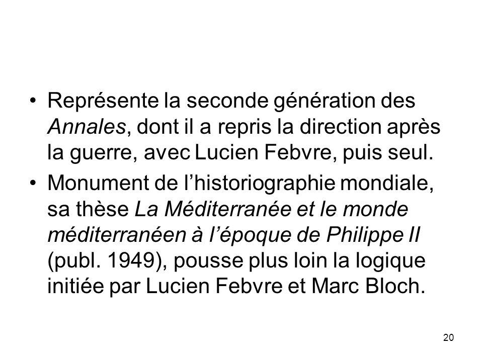 Représente la seconde génération des Annales, dont il a repris la direction après la guerre, avec Lucien Febvre, puis seul.