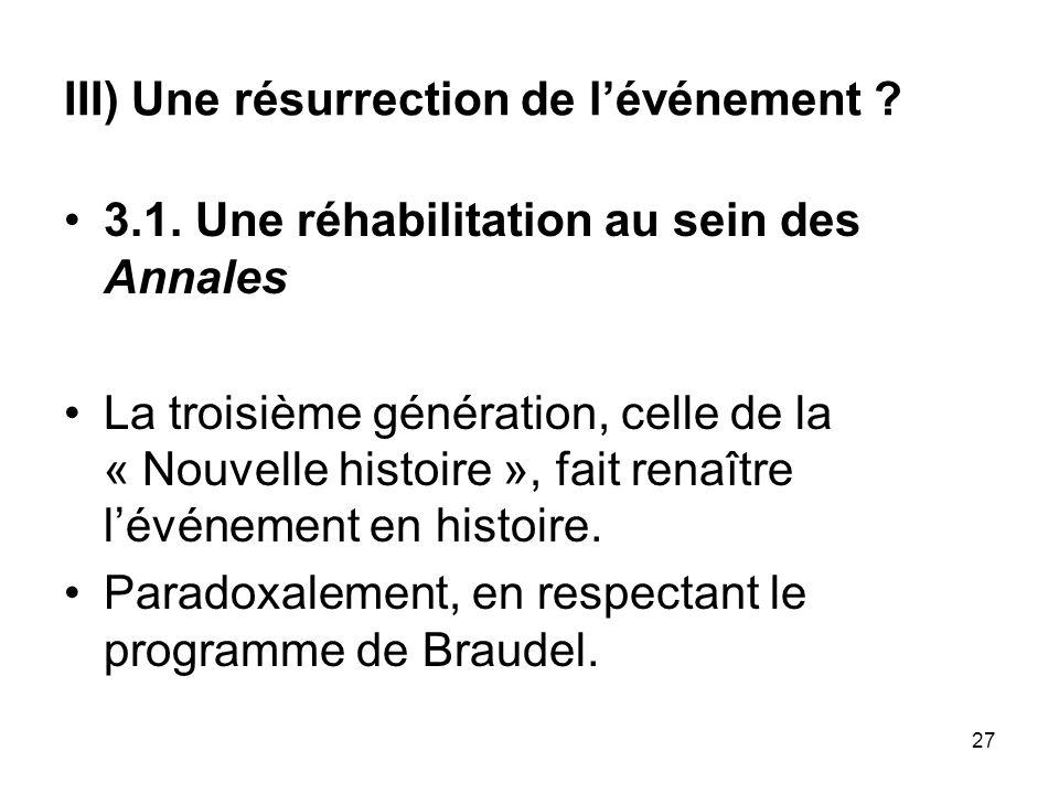 III) Une résurrection de l'événement