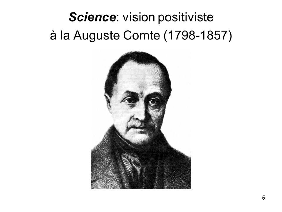 Science: vision positiviste à la Auguste Comte (1798-1857)