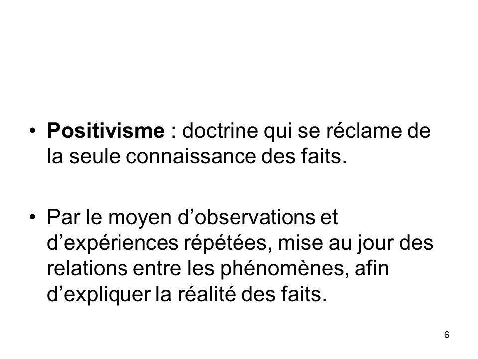 Positivisme : doctrine qui se réclame de la seule connaissance des faits.