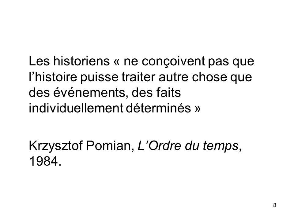 Les historiens « ne conçoivent pas que l'histoire puisse traiter autre chose que des événements, des faits individuellement déterminés »