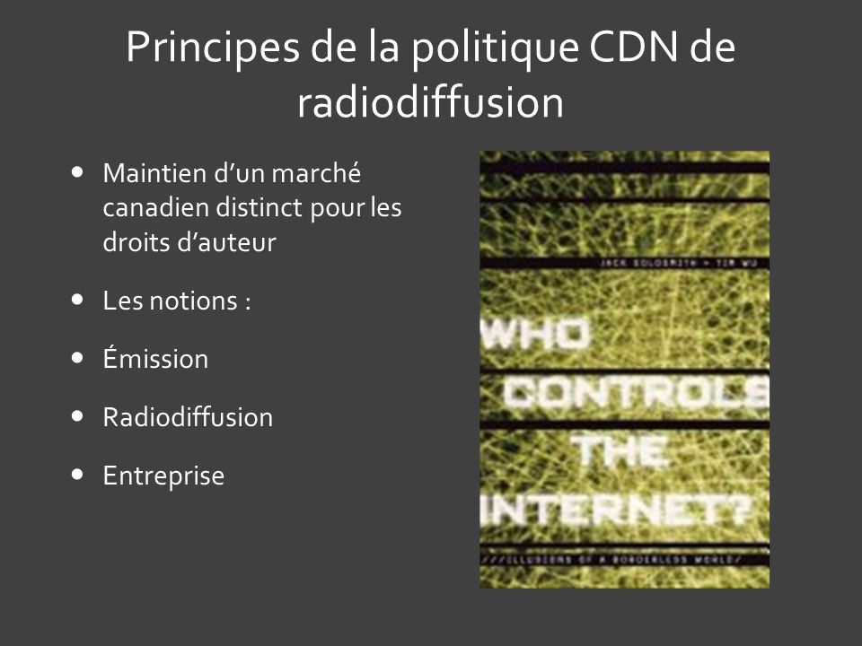 Principes de la politique CDN de radiodiffusion
