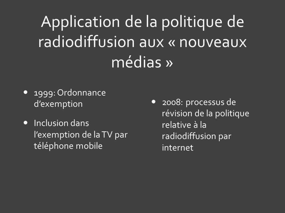 Application de la politique de radiodiffusion aux « nouveaux médias »