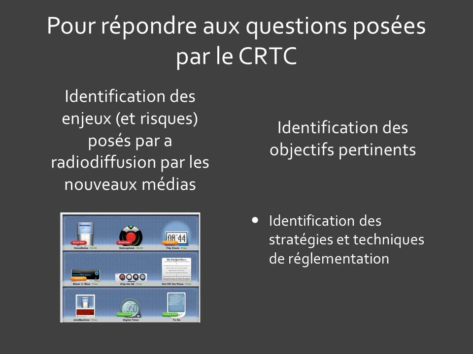Pour répondre aux questions posées par le CRTC