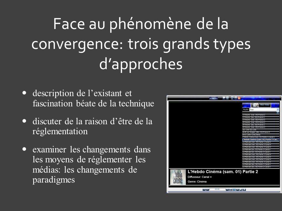 Face au phénomène de la convergence: trois grands types d'approches