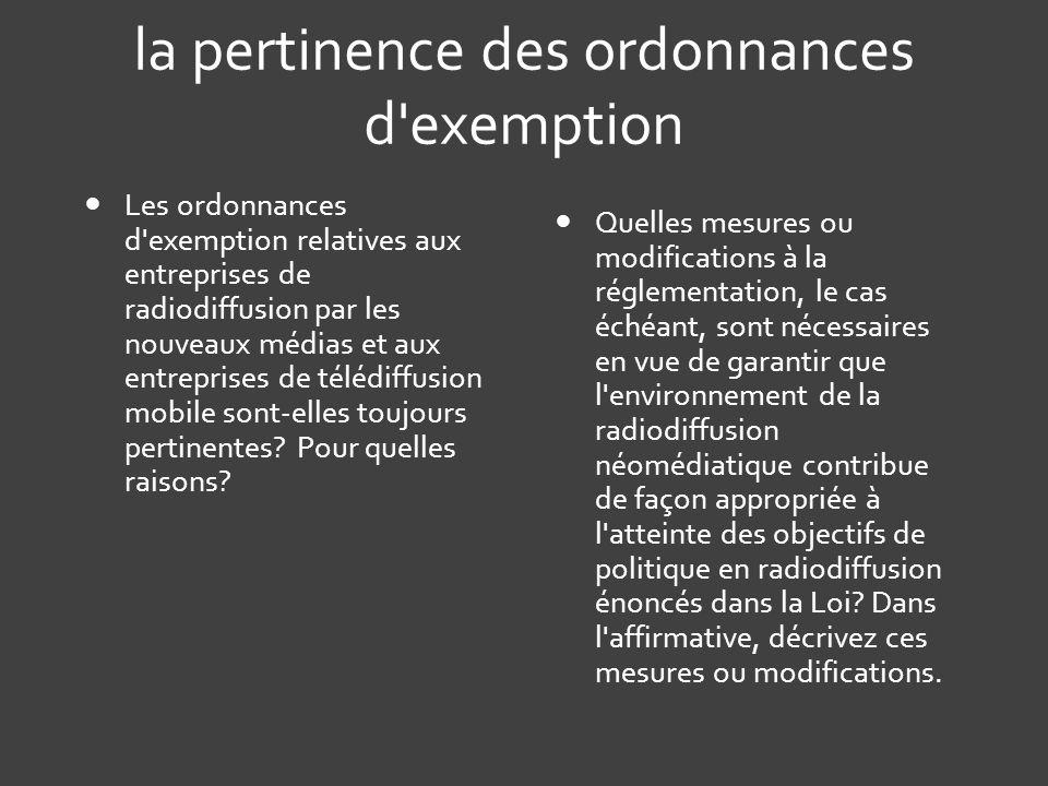 la pertinence des ordonnances d exemption