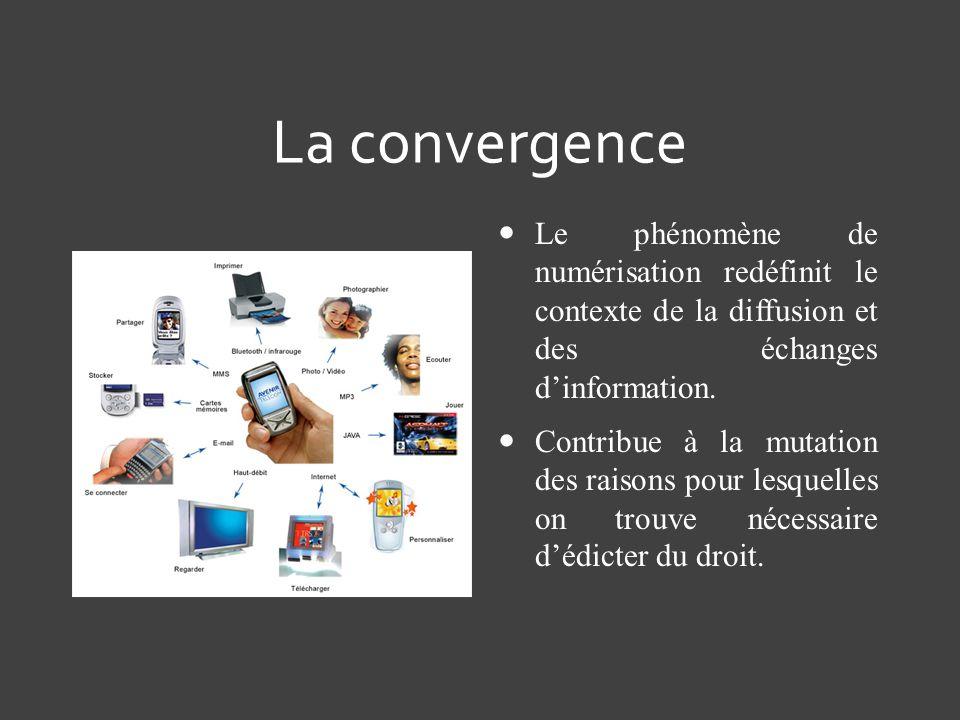 La convergence Le phénomène de numérisation redéfinit le contexte de la diffusion et des échanges d'information.