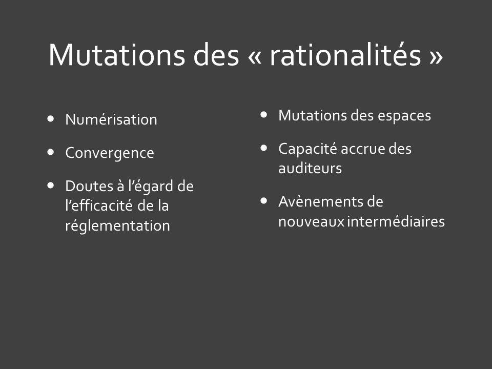 Mutations des « rationalités »