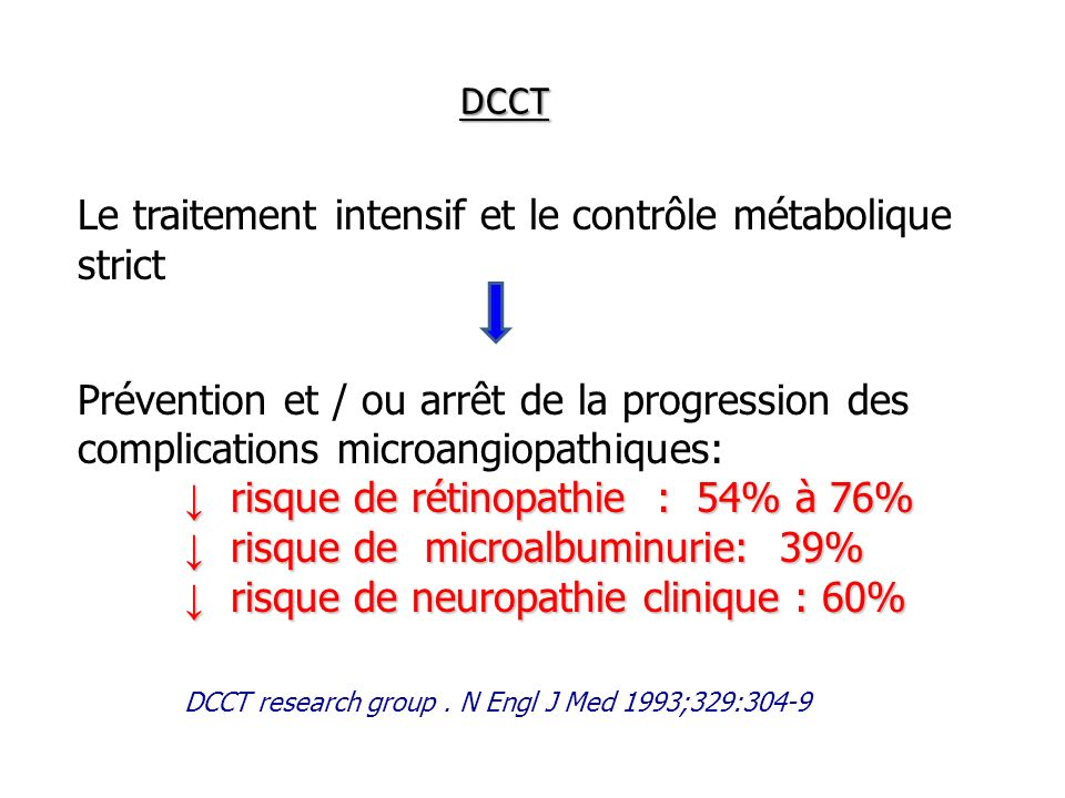 DCCT Le traitement intensif et le contrôle métabolique strict. Prévention et / ou arrêt de la progression des complications microangiopathiques: