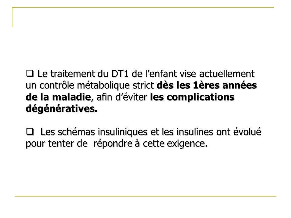 Le traitement du DT1 de l'enfant vise actuellement un contrôle métabolique strict dès les 1ères années de la maladie, afin d'éviter les complications dégénératives.