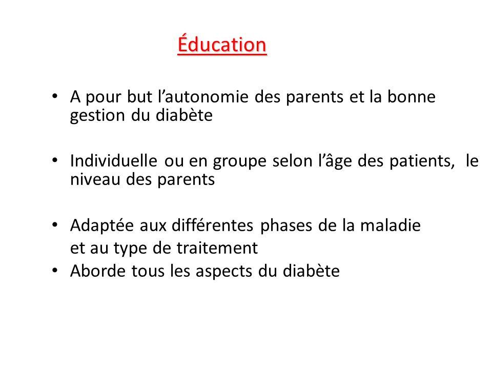 Éducation A pour but l'autonomie des parents et la bonne gestion du diabète.