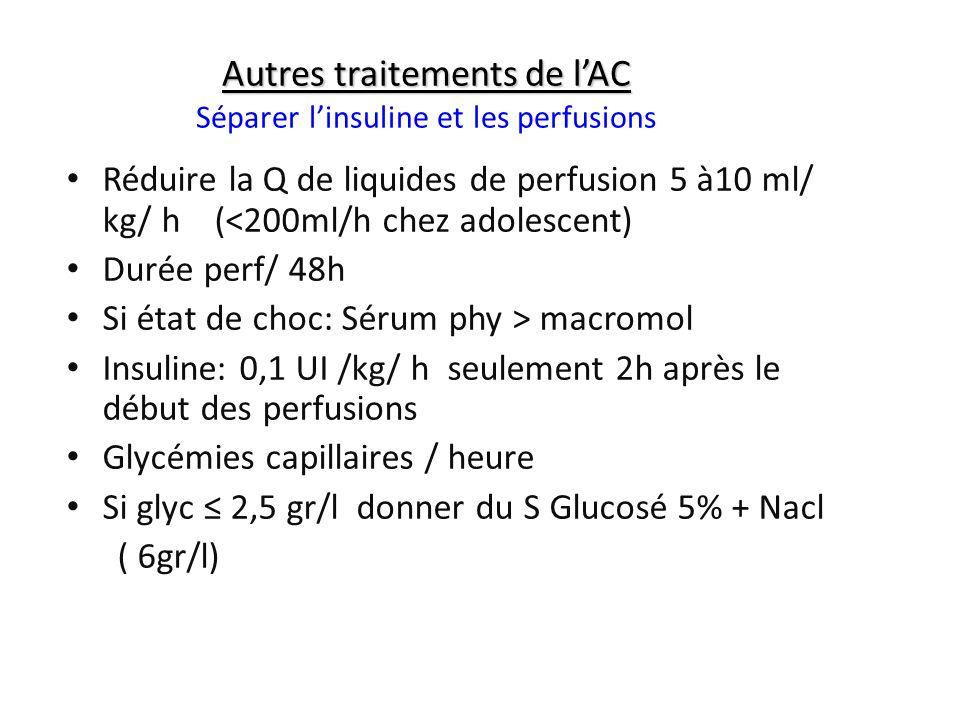 Autres traitements de l'AC Séparer l'insuline et les perfusions
