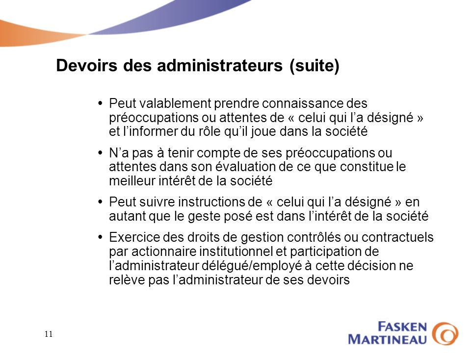 Devoirs des administrateurs (suite)