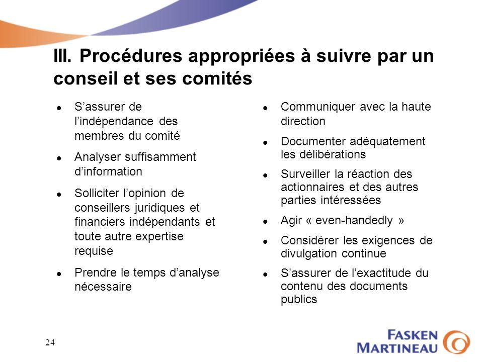 III. Procédures appropriées à suivre par un conseil et ses comités