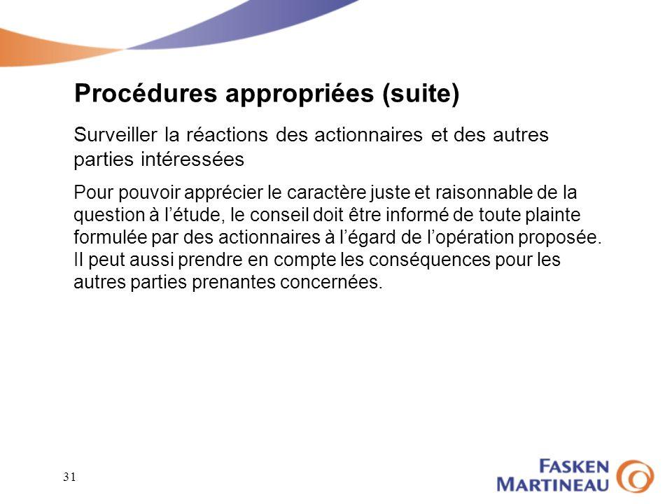 Procédures appropriées (suite)