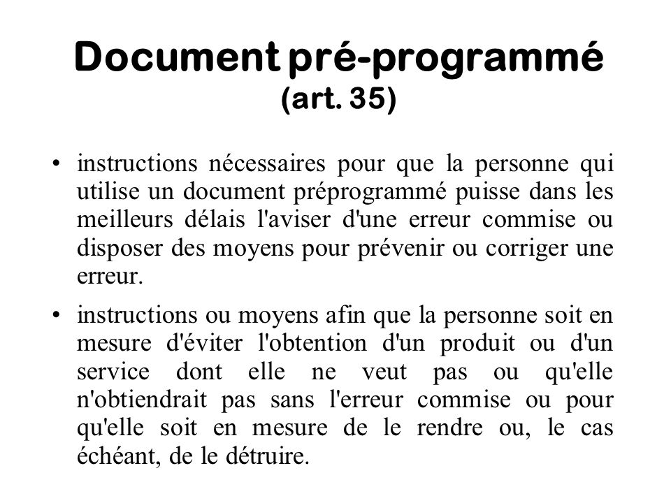 Document pré-programmé (art. 35)