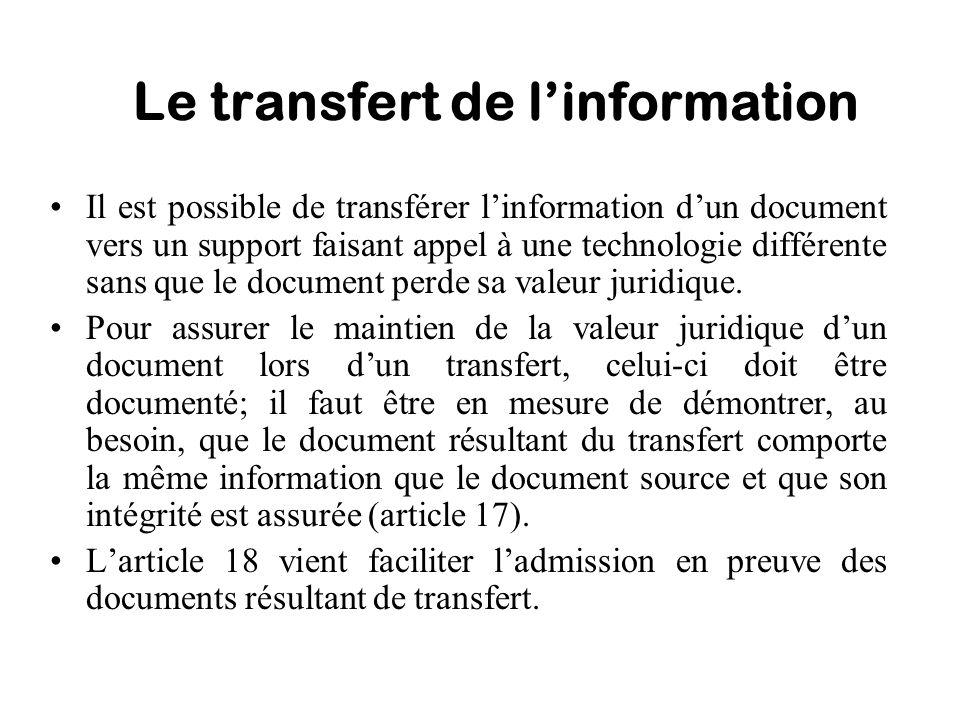 Le transfert de l'information