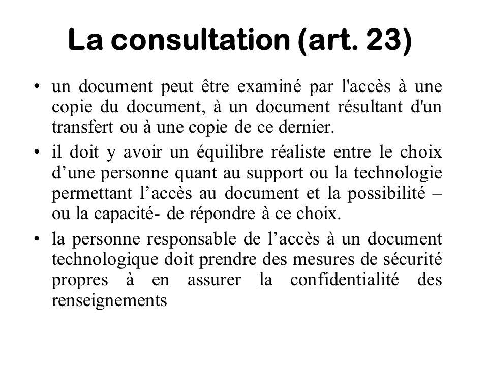 La consultation (art. 23)