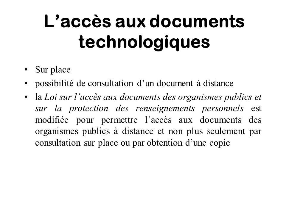 L'accès aux documents technologiques
