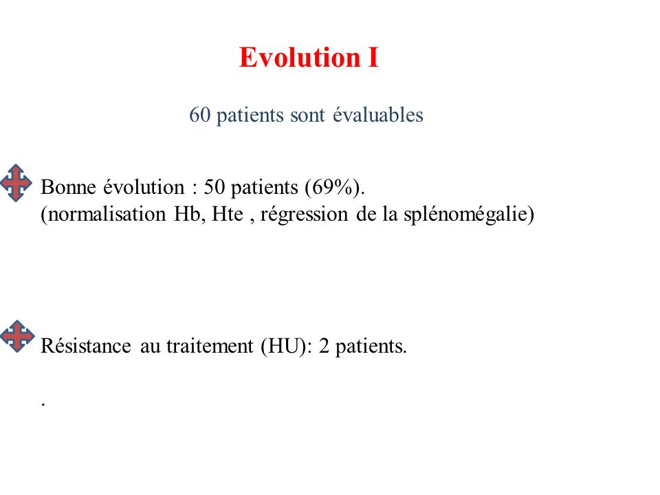 Evolution I 60 patients sont évaluables