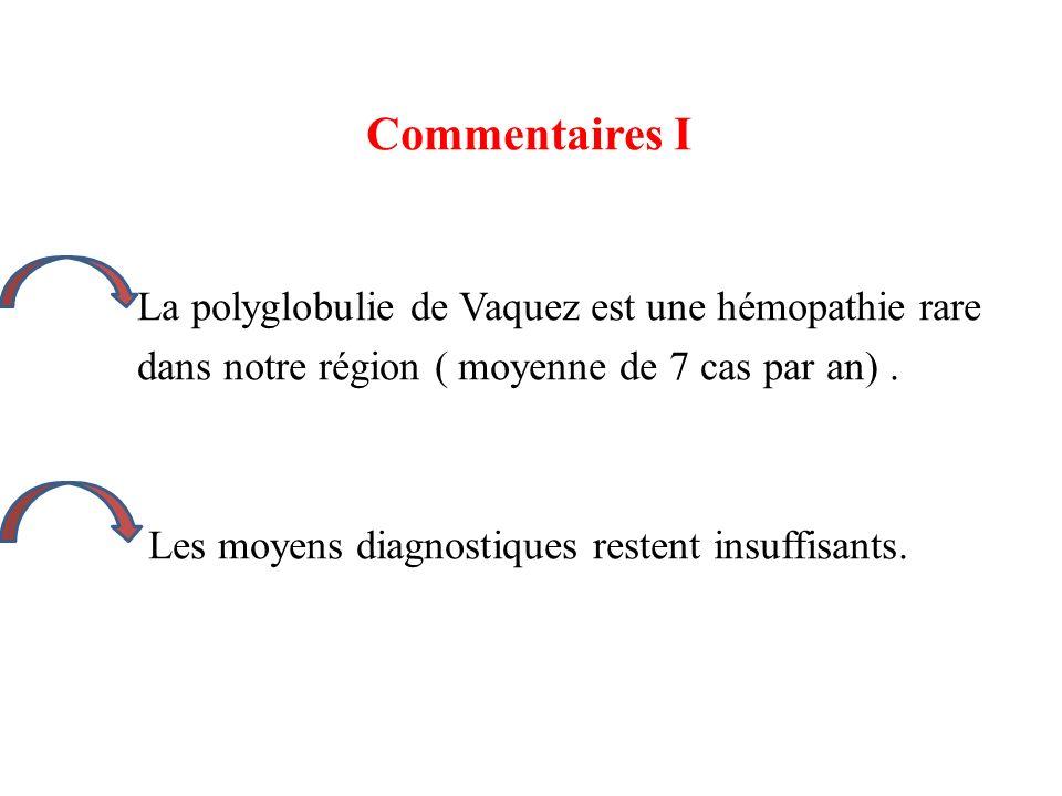 Commentaires I La polyglobulie de Vaquez est une hémopathie rare